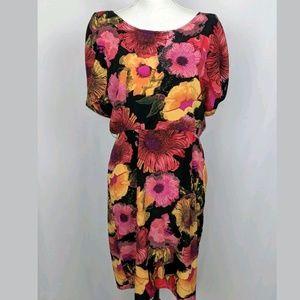 Jonathan Martin Dress Floral Blouson Split Sleeves